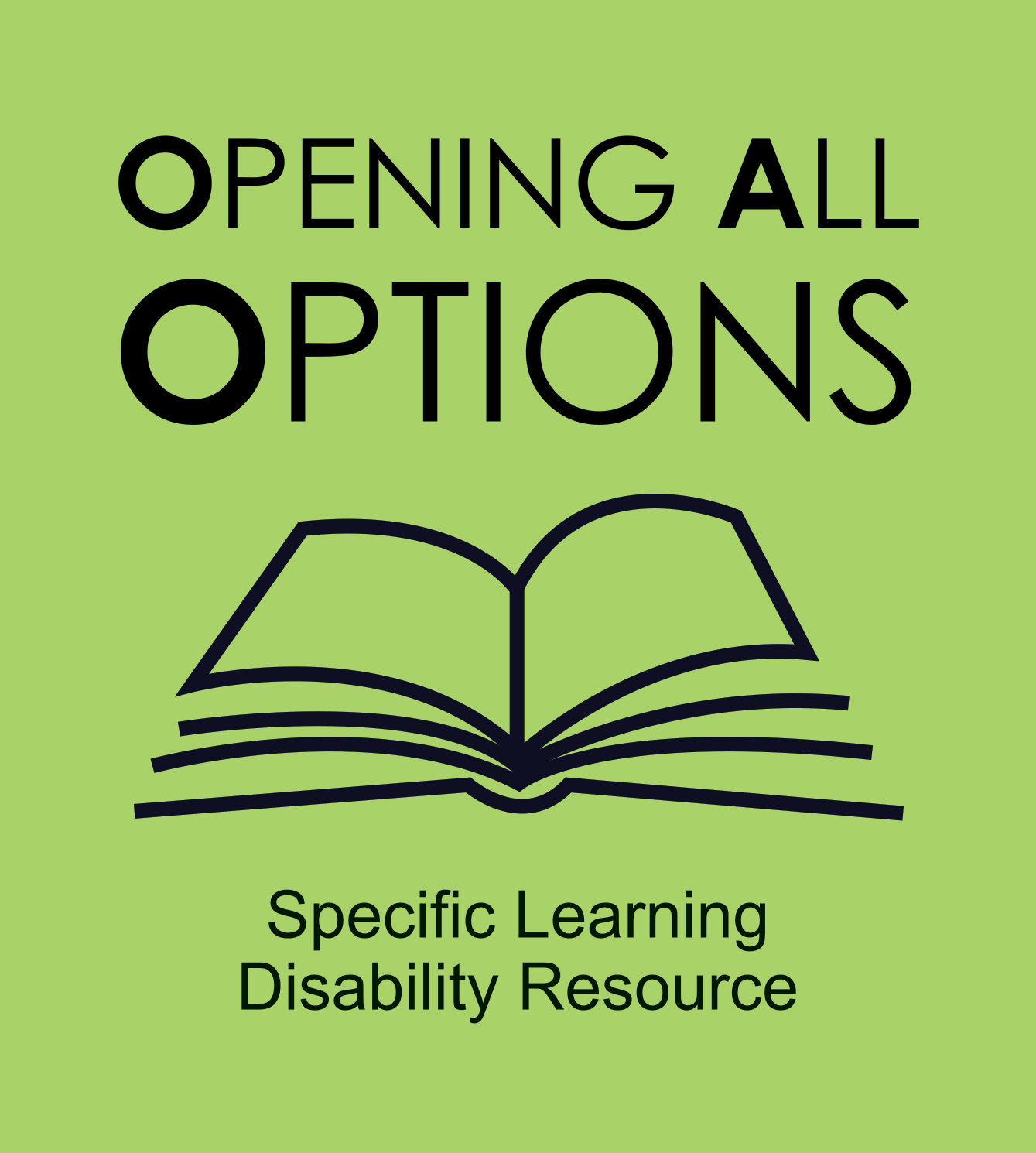 Text. Opening All Options. Specific Learning Disability Resource.  With line drawing of an open book.
