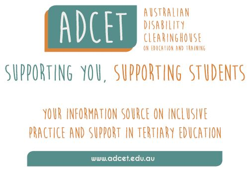 "ADCET postcard image. ""supporting you, supporting students"""