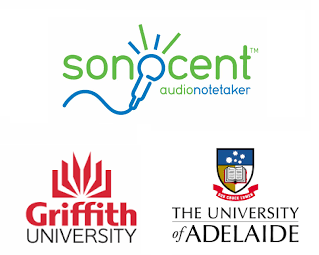 Photo of Sonocent, Uni Adelaide and Griffith uni logos