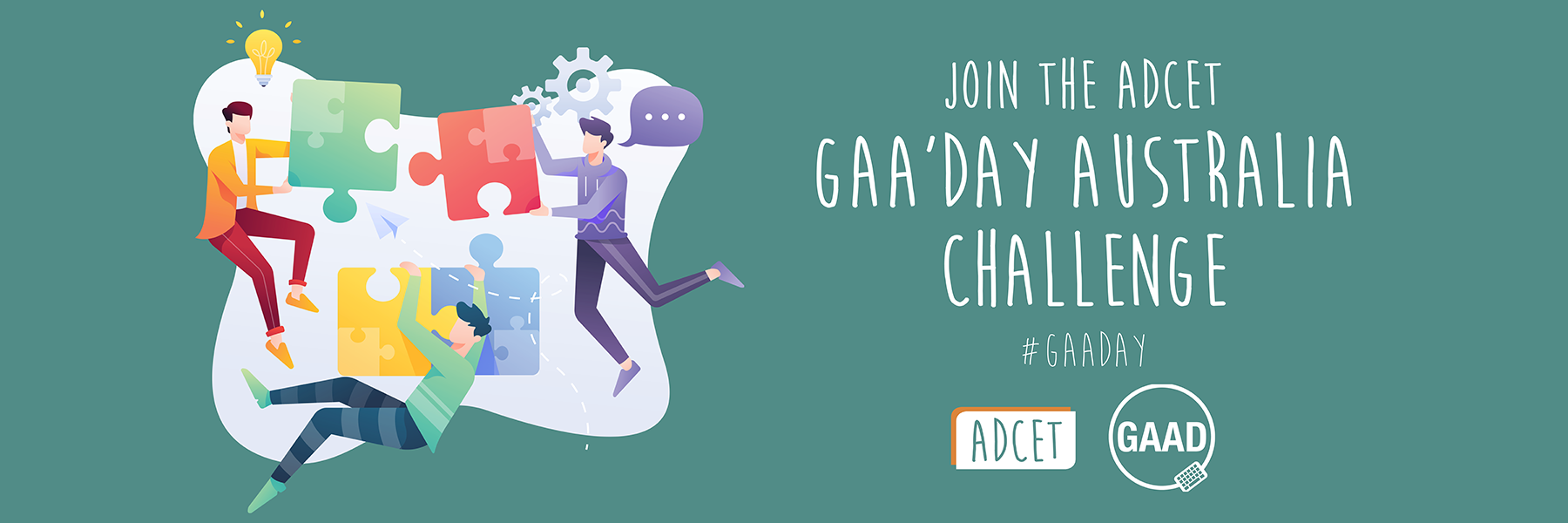 Text reading, Join the ADCET GAA'DAY Australia Challenge #GAADAY